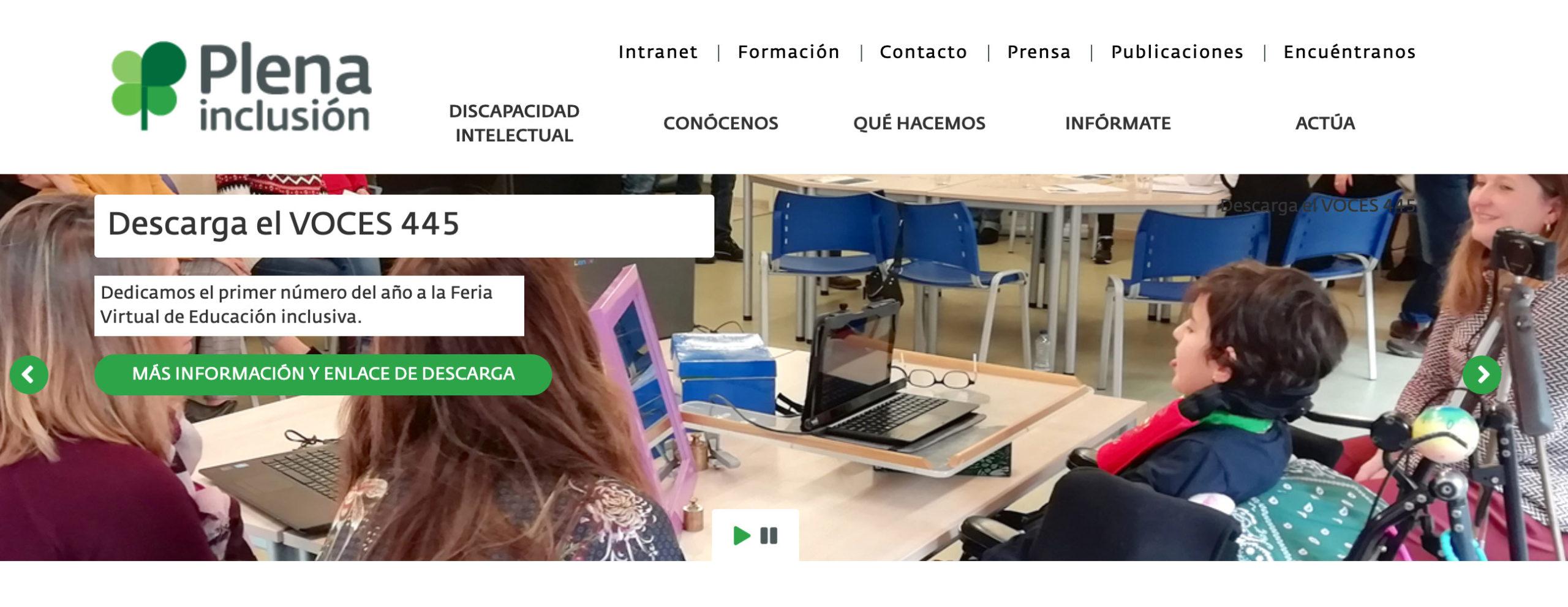 Ejemplo Slider de la página web de Plena Inclusión